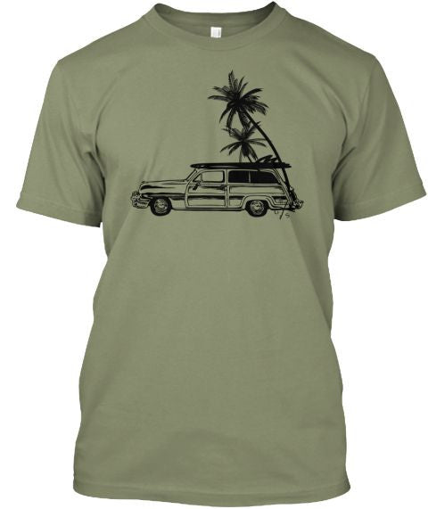 Men's Surf Woodie and Long Boards Tee Shirt Grey