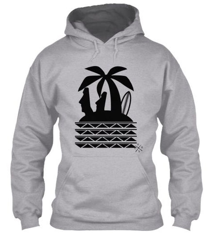 Gear Hunter Surf Moai & Tribal Tattoo Seas Men's Surf Hoodie Sport Grey