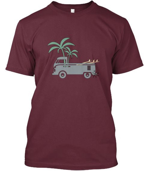 Men's Friday Afternoon Vintage Surf Bus Shirt Burgundy