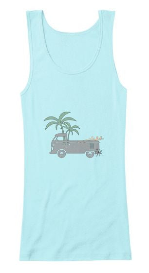 Friday Afternoon Women's Vintage Surf Bus Tank Aqua