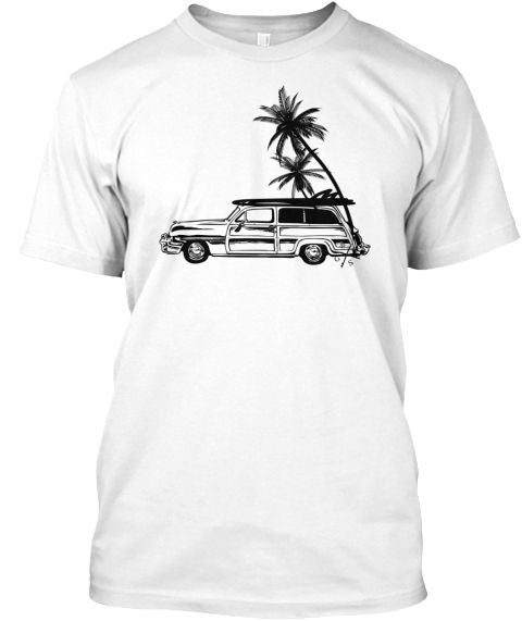 Men's Surf Woodie and Long Boards Tee Shirt White