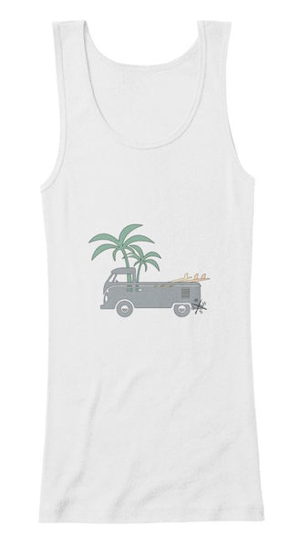 Friday Afternoon Women's Vintage Surf Bus Tank White