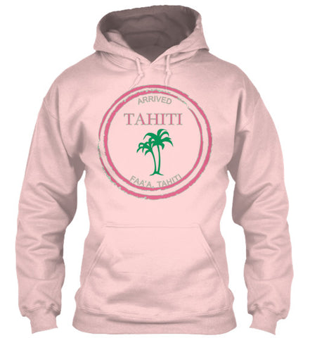 Women's Tahiti Passport Travel Stamp Palm Tree Pink Surf Hoodie