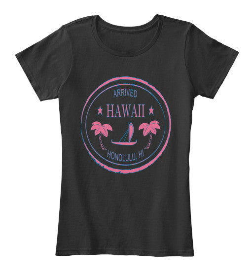 Arrived Hawaii Vintage Passport Stamp Outrigger Women's Shirt