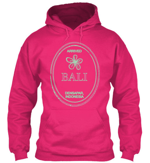 Gear Hunter Surf Arrived  Bali DENPASAR Indonesia Passport Travel Stamp Women's Hoodie