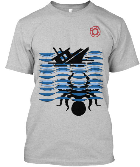 Kraken Boat Attack Pattern Changing Men's Shirt