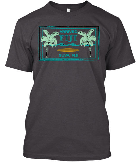 Arrived Fiji Men's Vintage Passport Stamp Surf Shirt