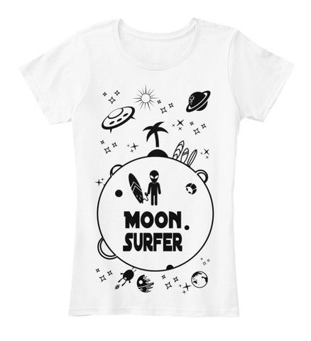 Moon Surfer Alien Surf Rider Women's Shirt