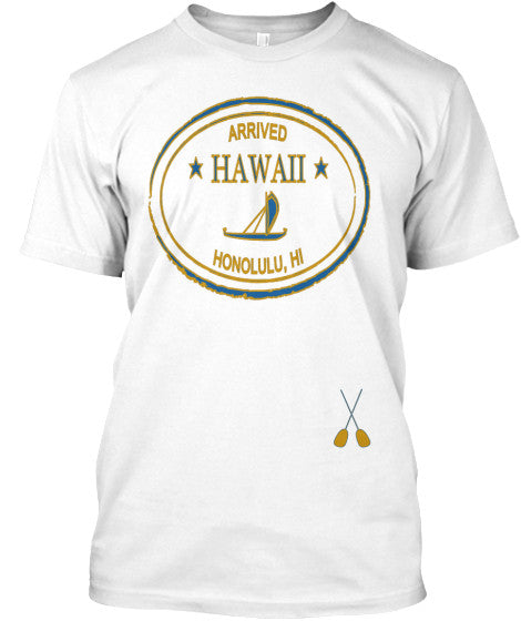 Arrived HAWAII Men's Outrigger Vintage Passport Stamp Shirt