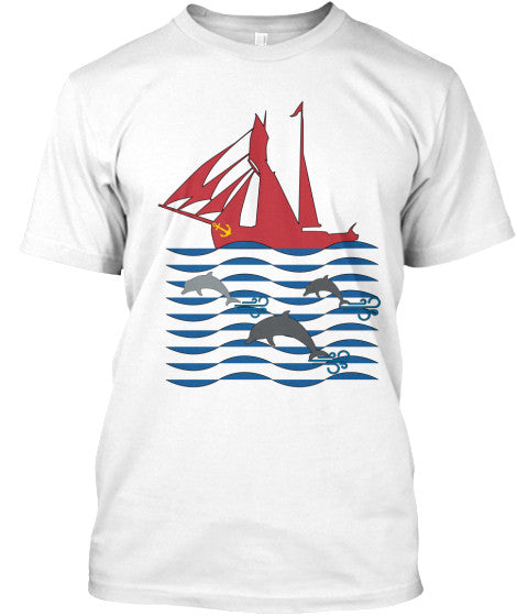 Dolphin Run Men's White Sailing Shirt