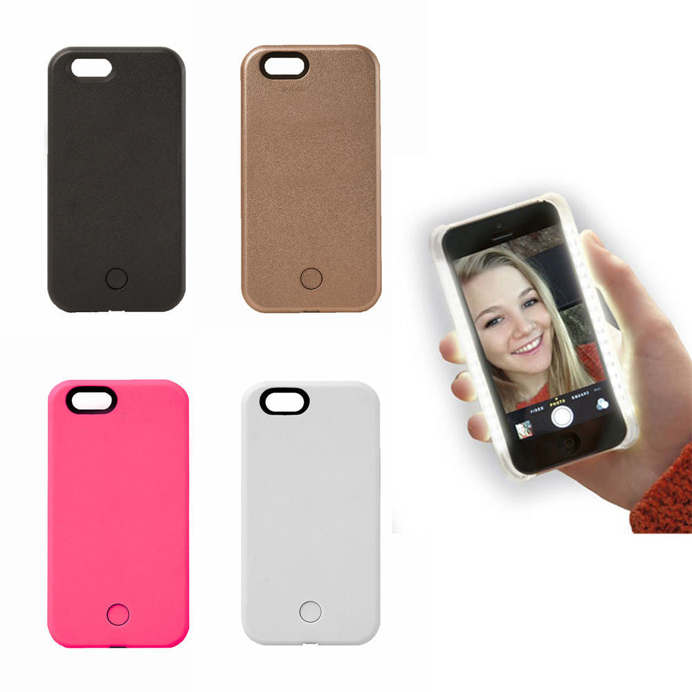 the latest 51d24 8ec36 Selfie Light-Up Case Luxury LED Cover With Charging Cable for iPhone 5 6 6s  6 plus/ Or Samsung s6