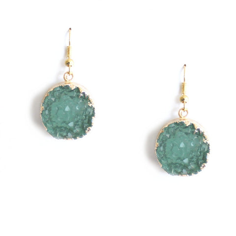 Round Druzy Style 18k Gold  Dangle Earrings in Colored Agate Stone