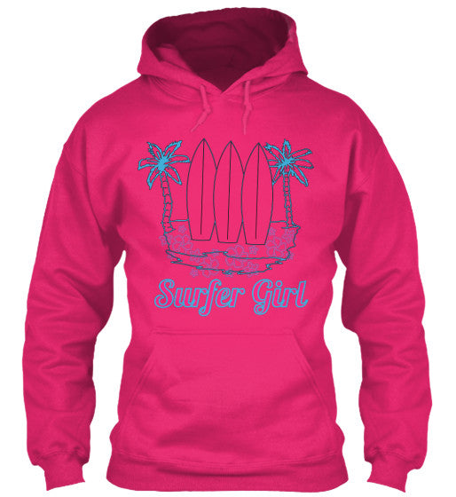 Surfer Girl Hoodie with Surfboards Plumerias and Palm Trees