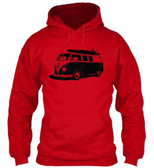 Men's Vintage  VW Bus Red Surf Hoodie