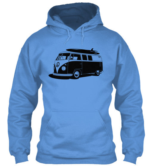 Men's Vintage  VW Bus Blue Surf Hoodie