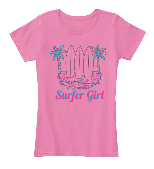 Surfer Girl Shirt with Surfboards Plumerias and Palm Trees