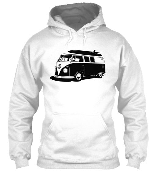 Men's Vintage  VW Bus White Surf Hoodie