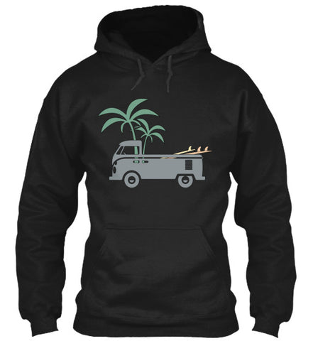 Gear Hunter Surf Friday Afternoon Men's  Surf Bus Hoodie Black