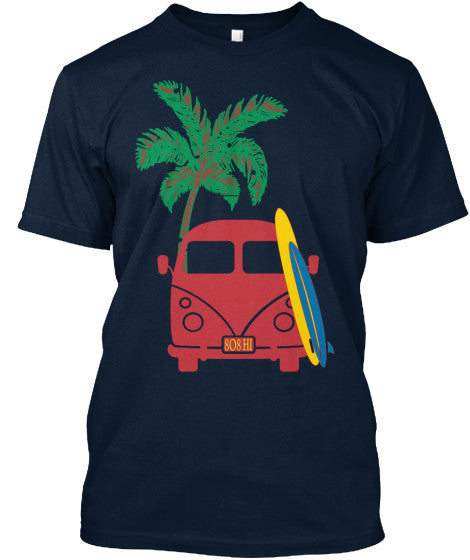 Men's Vintage Surf Bus Shirt with 808 HI Plates, Hawaii