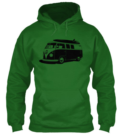 Men's Vintage  VW Bus Green Surf Hoodie
