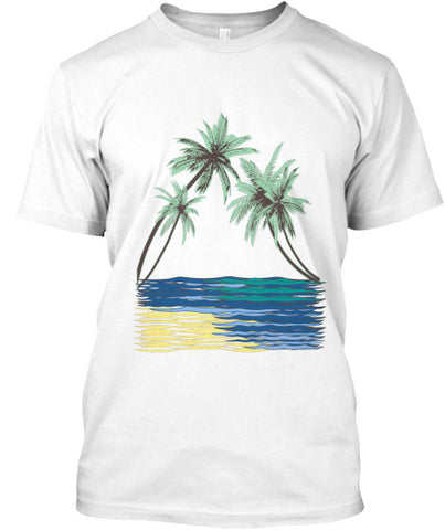 White Kahala Palms Men's American Apparel Surf Shirt