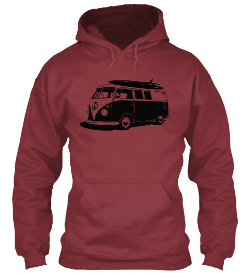 Men's Vintage  VW Bus Cardinal Surf Hoodie