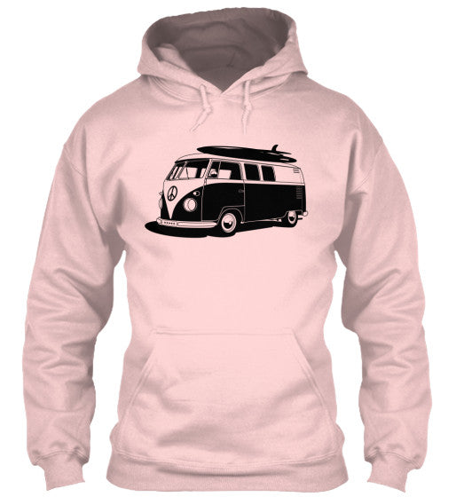 Men's Vintage  VW Bus Light Pink Surf Hoodie