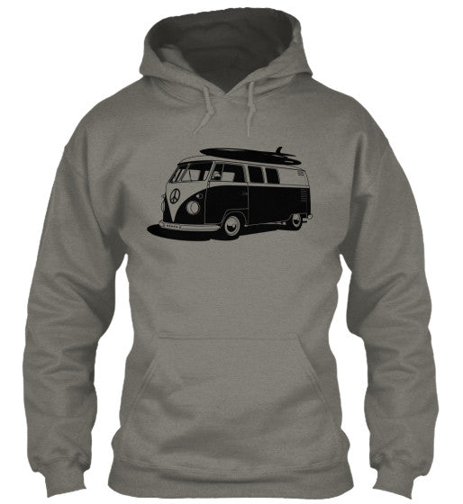 Men's Vintage  VW Bus Sport Grey Surf Hoodie
