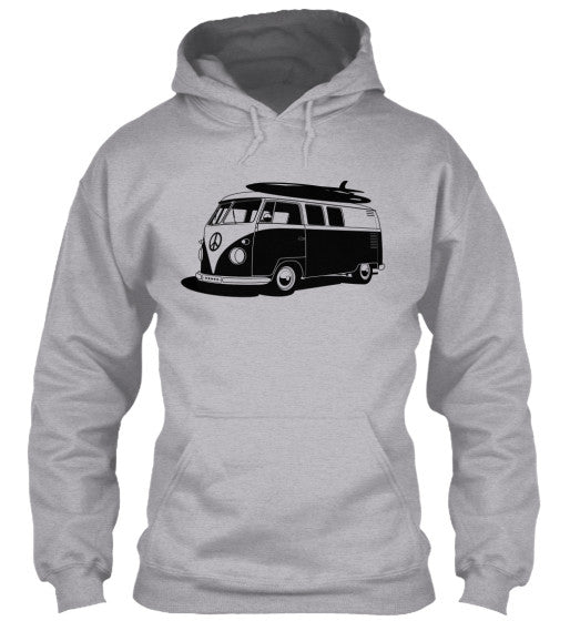 Men's Vintage  VW Bus Grey Surf Hoodie