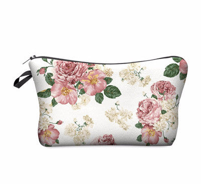 Powder Pink  Roses Print Makeup Bag Purse Organizer