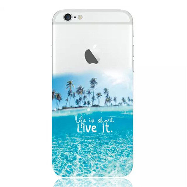 Life is Short, Live It Beach Island & Palm Trees Soft Cover For Apple iPhone 6