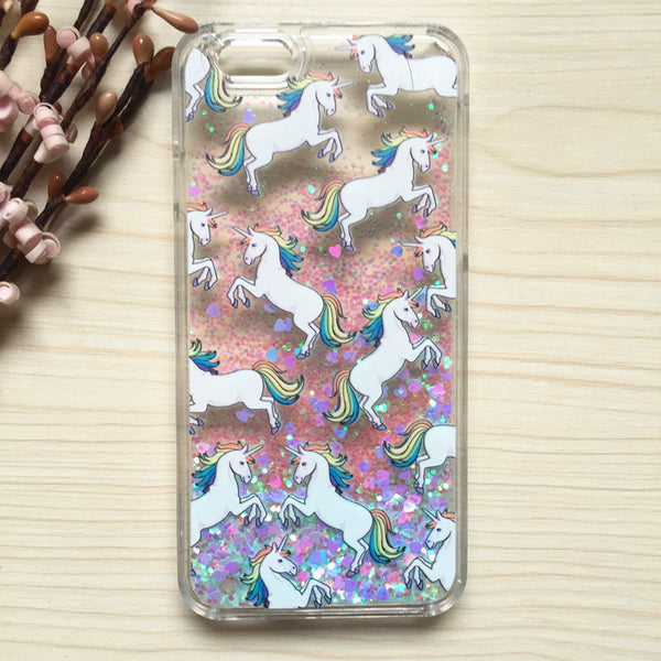 "Rainbow Unicorn Glitter Cascading Case For iPhone 5G 5S 5SE 6 6S 4.7"" plus 5.5"""