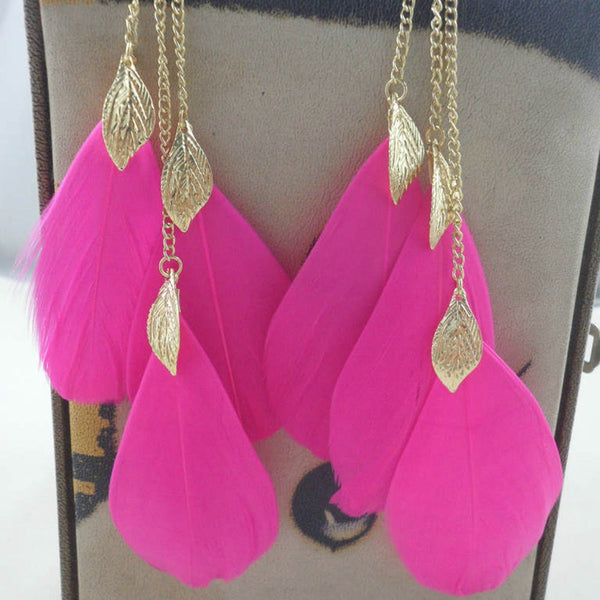 Wild Pink Feather Boho Chic Drop Earrings