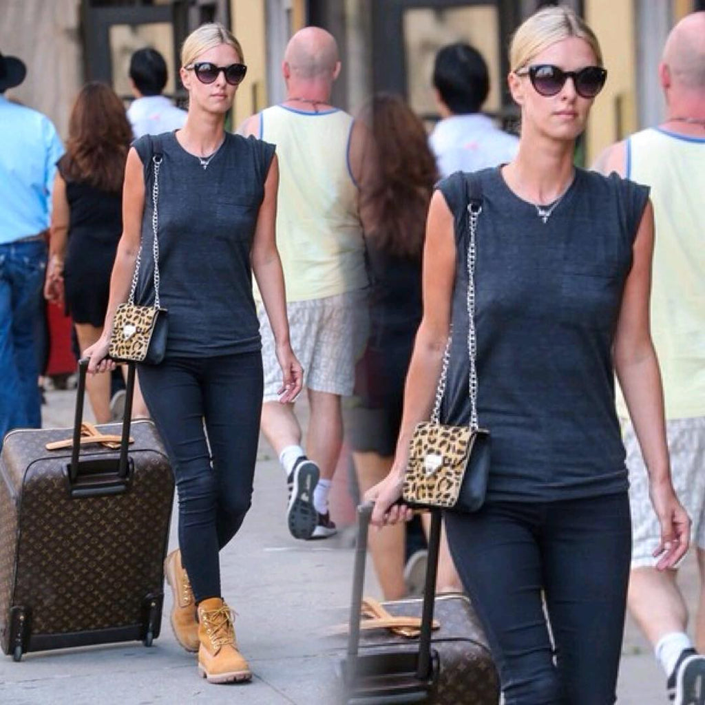 Nicky Hilton wearing the Linea Pelle Bowery Shoulder Bag in Haircalf