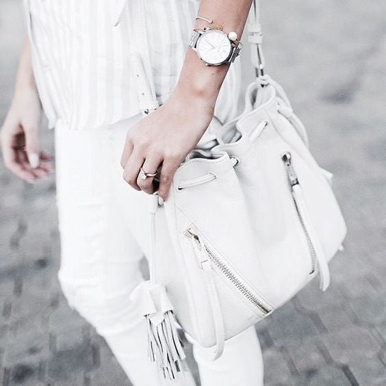 Happily Ever Allen featuring the Linea Pelle Ryan Mini Bucket Bag in White