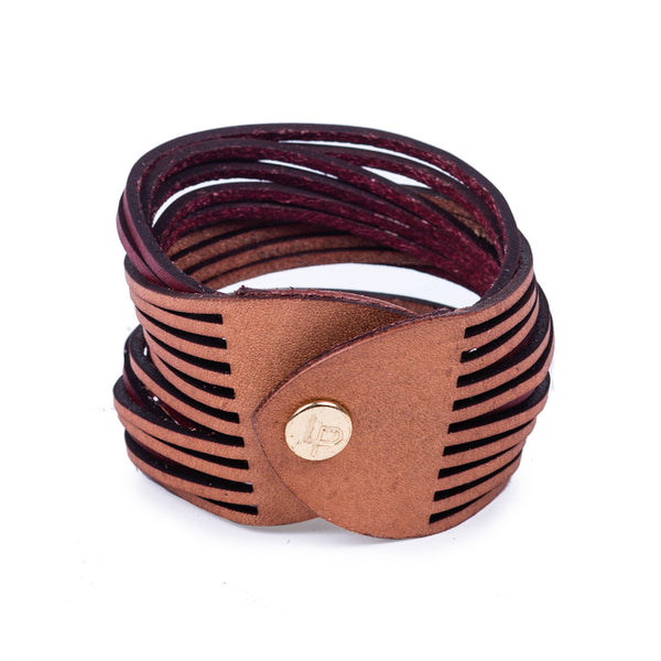 Linea Pelle Two Tone Sliced Bracelet in Natural and Red