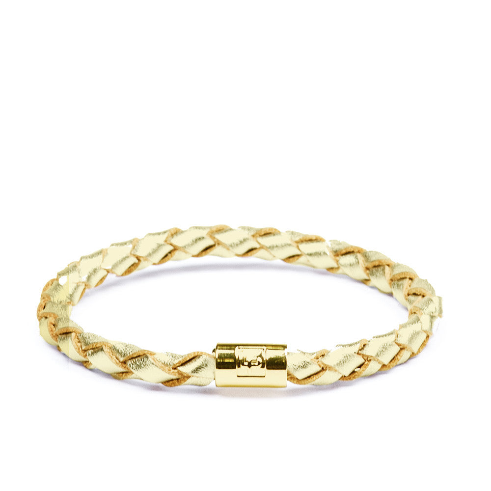 Linea Pelle Skinny Braid Bracelet in Gold