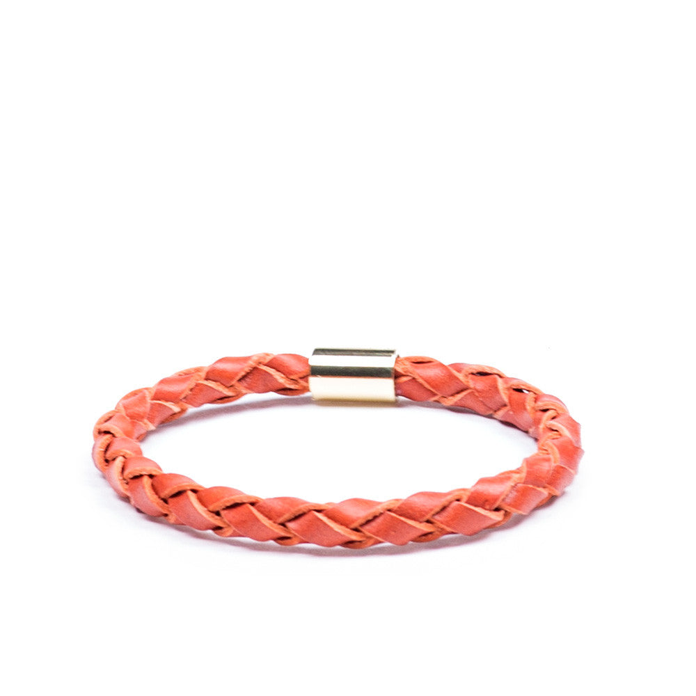 Linea Pelle Skinny Braid Bracelet in Pumpkin