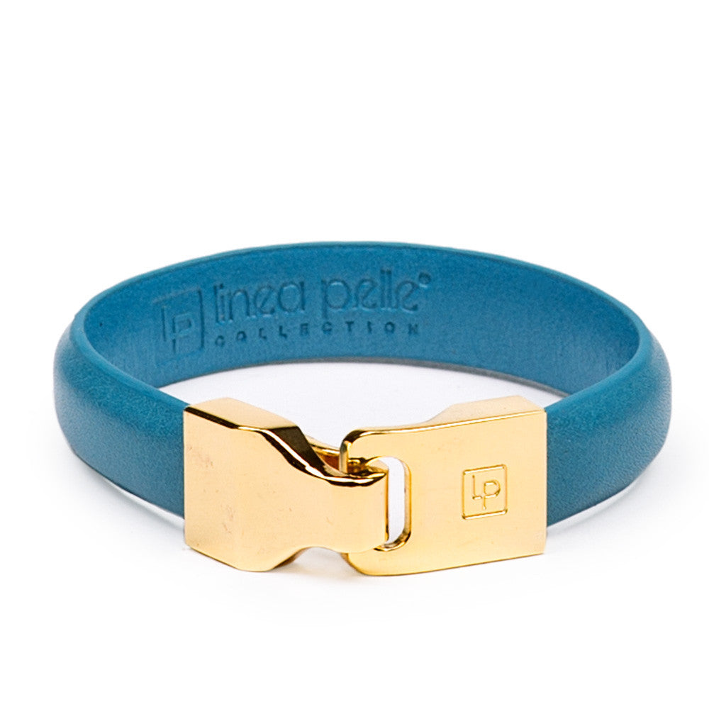 Linea Pelle Hook Closure Bracelet in Turquoise