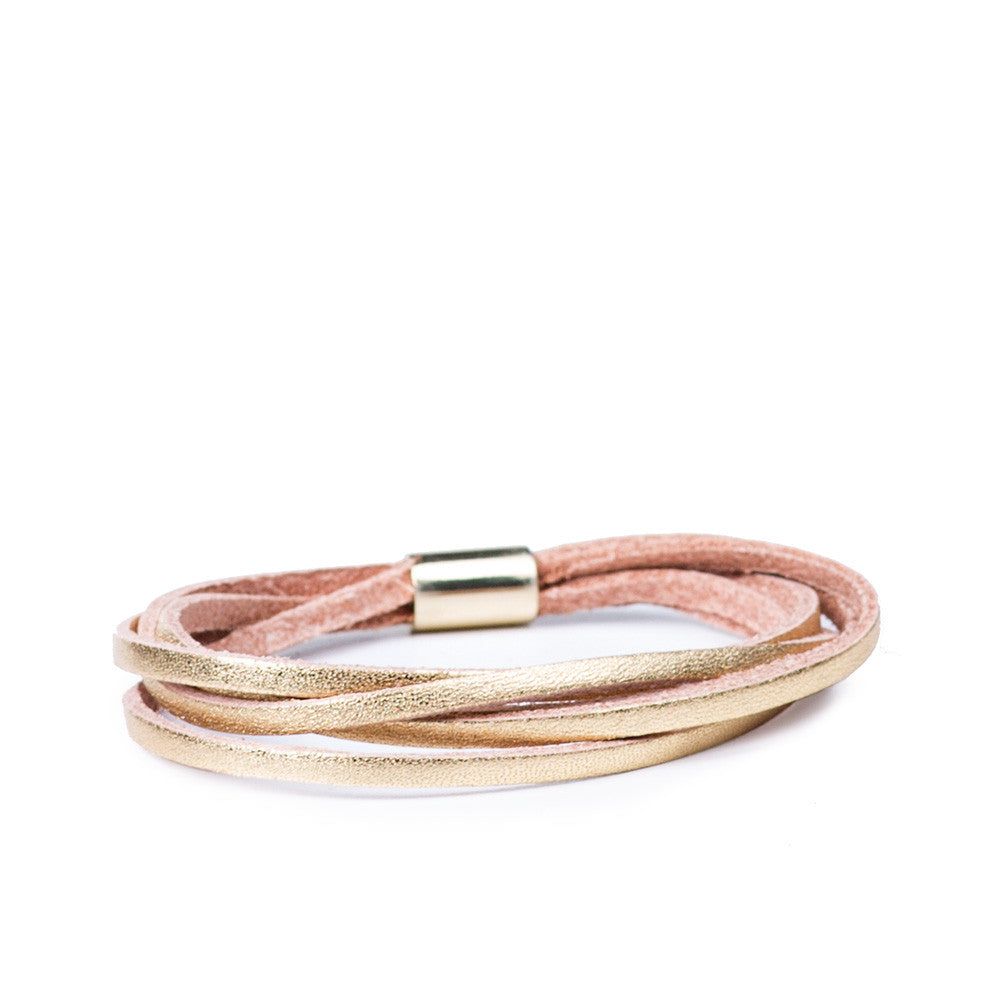 Linea Pelle Skinny Sliced Bracelet in Gold