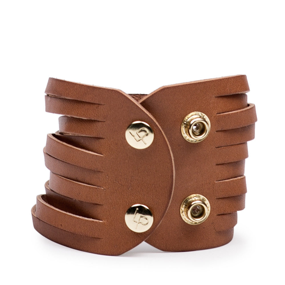 Linea Pelle Sliced Dome Stud Bracelet in Natural