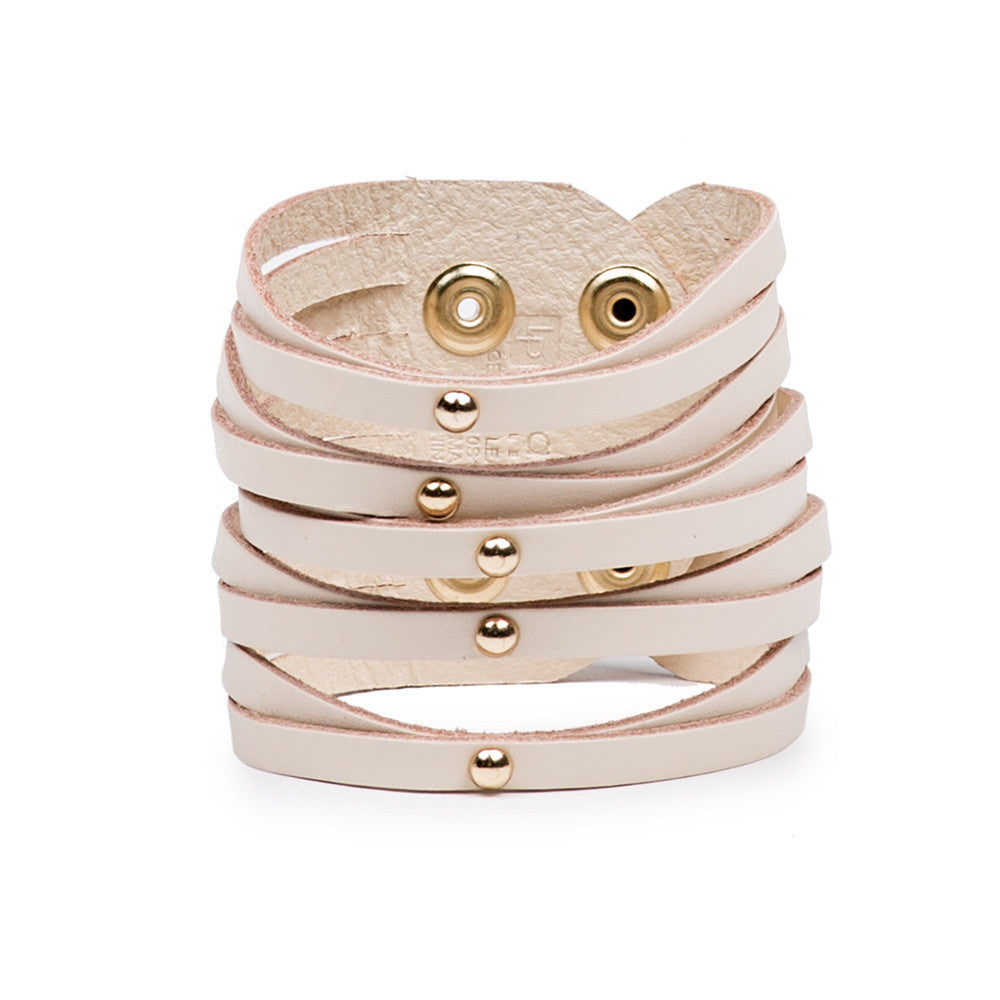 Linea Pelle Sliced Dome Stud Bracelet in Vanilla