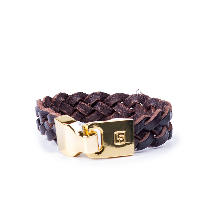 Linea Pelle Braided Hook Closure Bracelet in Espresso
