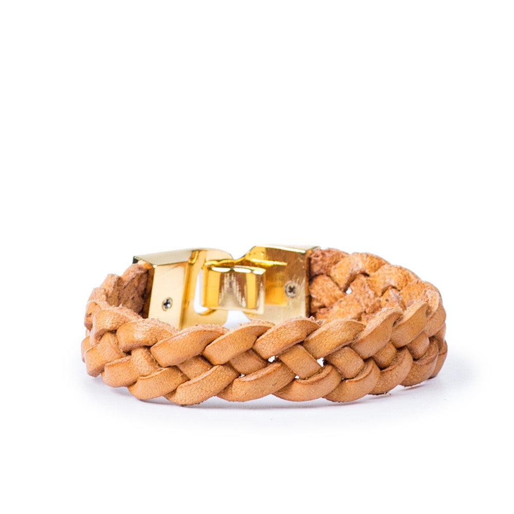 Linea Pelle Braided Hook Closure Bracelet in Saffron