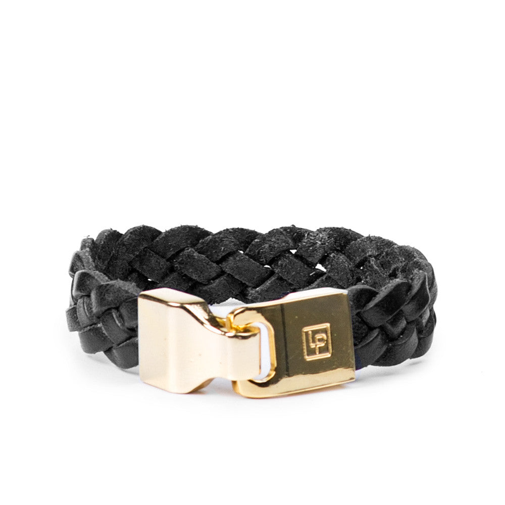 Linea Pelle Braided Hook Closure Bracelet in Black