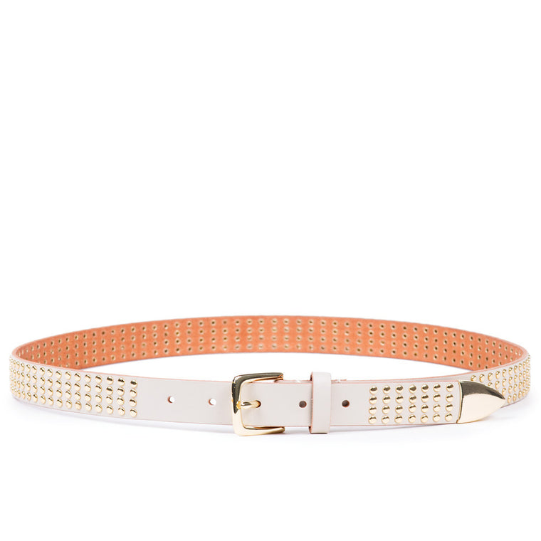 Linea Pelle Avery Studded Hip Belt in Vanilla
