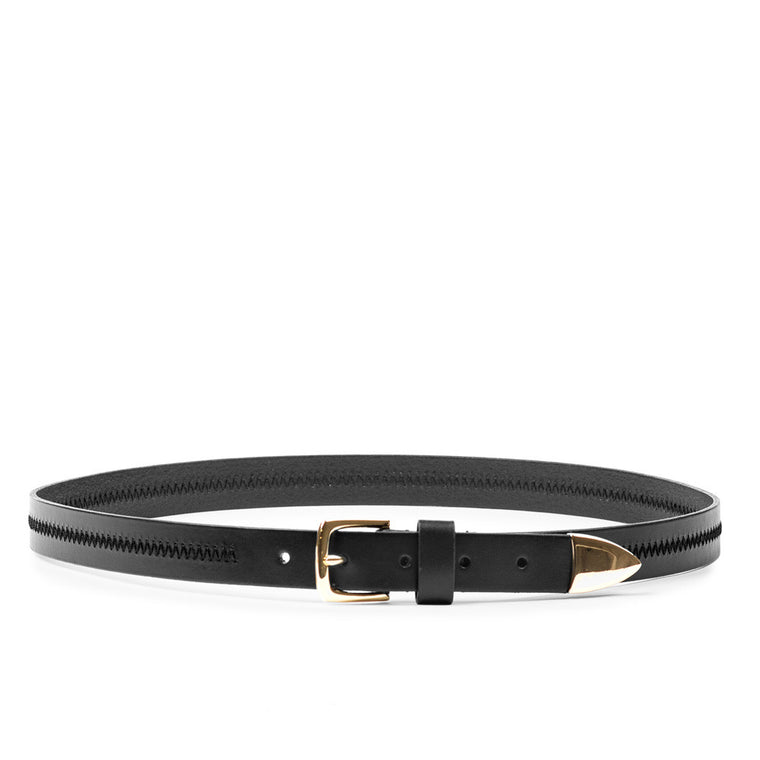 Linea Pelle Hip Belt with Detailed Stitch in Black