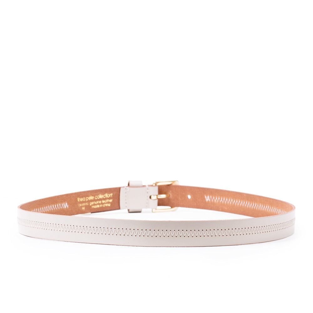 Linea Pelle Hip Belt with Detailed Stitch in Vanilla