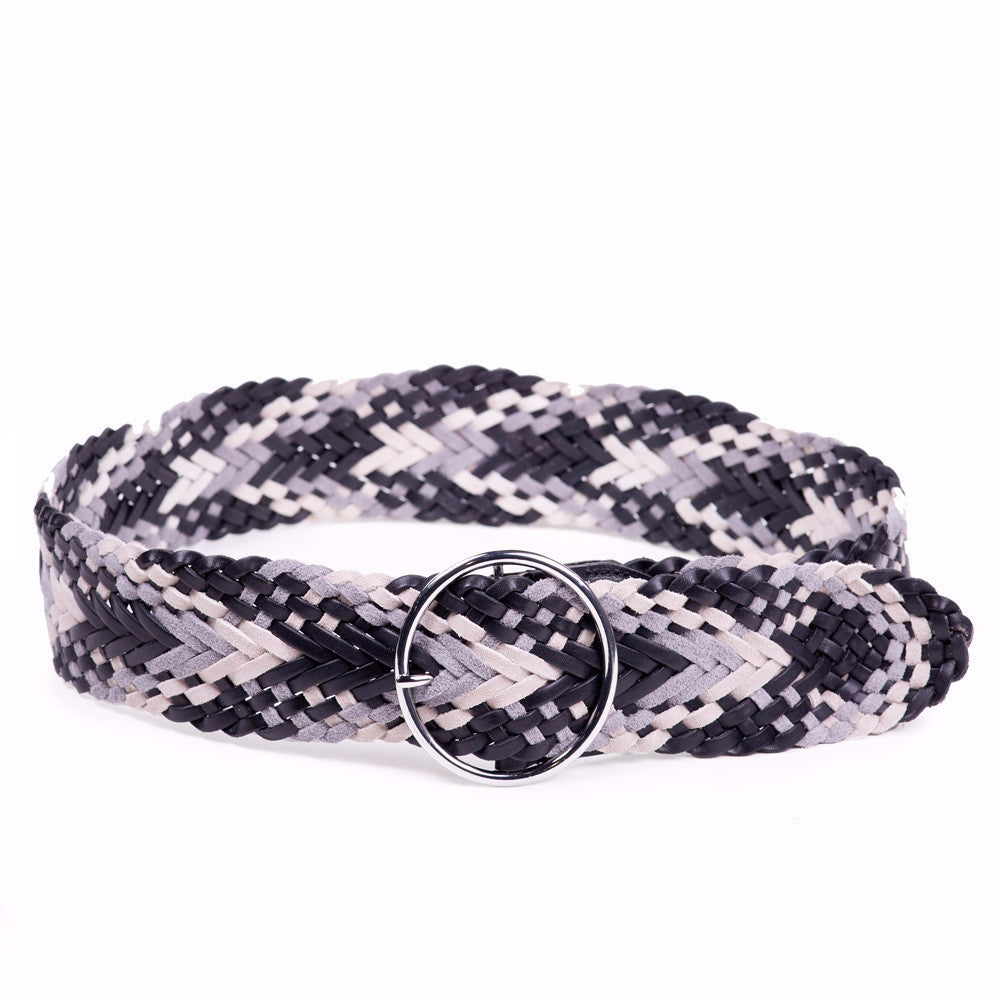 Linea Pelle Round Buckle Braided Belt in Black Multi