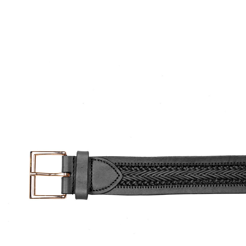 Linea Pelle Center Braid Belt in Black